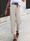 Plain Casual Straight Leg Pants