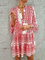 Printed Long Sleeve Casual Dress