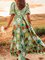 Lightgreen V Neck Printed Boho Patchwork Dress