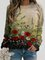 Women Calico Print Long Sleeve O-neck Casual Sweatshirt