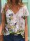 Short Sleeve Casual Floral V Neck Top