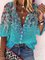 Vintage Half Sleeve Floral Printed V Neck Plus Size Casual Top