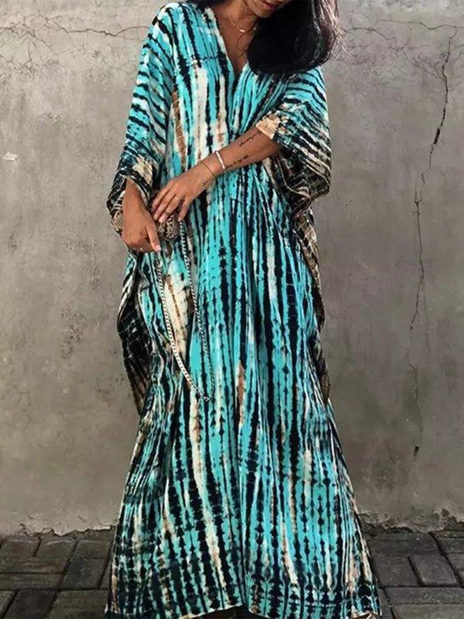 Boho Ombre/tie-Dye Shift Cotton-Blend Dress