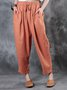 Cotton Casual Solid Straight Leg Pants