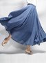 Casual Plus Size Elastic Waist Big Swing Hem Long Maxi Skirt