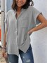 Cotton-Blend Casual Plain Buttoned Blouse