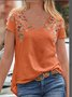 Casual V Neck Short Sleeve Top