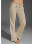 Solid Linen Straight Leg Pants