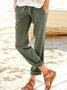 Pockets Solid Straight Leg Pants