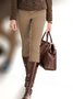 Khaki Vintage Casual Cotton Pants