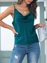 Casual Backless Solid Spaghetti-Strap Cami