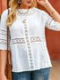 White Crew Neck Shift Half Sleeve Casual Top