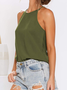 Casual Cotton-Blend Solid Tank