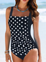 Off Shoulder Polka Dots Swimwear