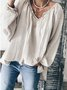 Light Gray Plain Cotton Long Sleeve V Neck Top