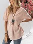 Pink Solid Short Sleeve V Neck Top