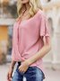 Short Sleeve Solid Casual Top