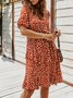Summer A-Line Date Printed  Midi Dress