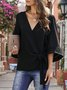 Surplice Neck Casual Bell Sleeve Shift Blouse
