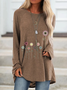 Casual Floral Crew Neck Long Sleeve Top