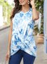 Ombre/tie-Dye Crew Neck Sleeveless Top
