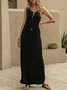 Space Black Shift Casual Solid Maxi Dress