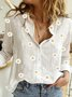 White Long Sleeve V Neck Printed Casual Top