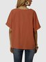 Orange Solid Short Sleeve Casual T-Shirt