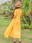 Women Linen Plain Gathered Maxi Dress