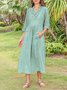 Notch Neckline Green Daily Plain Maxi Dress