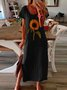 Vintage Boho Sunflower Printed Plus Size Short Sleeve Crew Neck Casual Dress