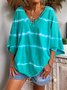 Green V Neck Cotton Casual Ombre/tie-Dye T-Shirt