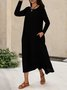 Pockets Long Sleeve Solid Simple Midi Dress
