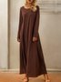 Brown Stripes Casual Crew Neck Maxi Dress