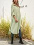 Shawl Collar Green Shift Slit Striped Maxi Dress