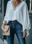 V Neck Paneled Long Sleeve Top