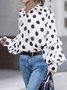 Polka Dots Shift Long Sleeve Shirt Collar Top