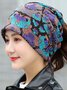 Vintage Multicolor Geometric Floral Printed Casual Knitted Hat