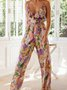 V Neck Holiday Spaghetti-Strap Printed One-Pieces Jumpsuit