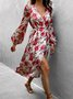 Long Sleeve Floral V Neck Dress