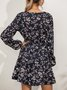 Floral-Print V Neck Long Sleeve Floral Dress