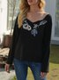 Beaded V Neck Long Sleeve Floral  Top