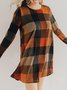 Crew Neck Long Sleeve Shift Checkered/plaid Dress