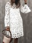 Crew Neck Guipure Lace 3/4 Sleeve Solid Dress