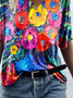 Flower Oil Painting Print T-shirt