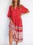 Pockets Cotton-Blend Short Sleeve Boho Dress