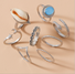 Shell moon five-pointed star snake-shaped flower ring set 8-piece set