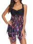 Women's Two Piece Dragonfly Print Tankini Swimsuit