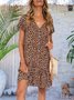 Frill Sleeve Leopard Cotton-Blend Boho Dresses
