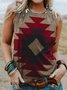 Sleeveless Geometric Vintage Printed Top